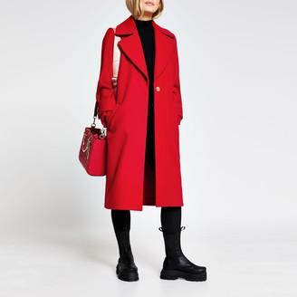 River Island Womens Petite Red long line cuff detail coat