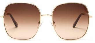Chloé Eliz Square Metal Sunglasses - Brown Gold