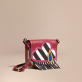 Burberry Weather Motif Leather and House Check Crossbody Bag