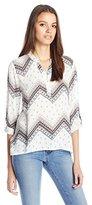 Blu Pepper Women's Woven Printed Long Sleeve Top