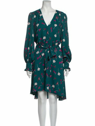 Joie X Solid & Striped Floral Print Midi Length Dress Green