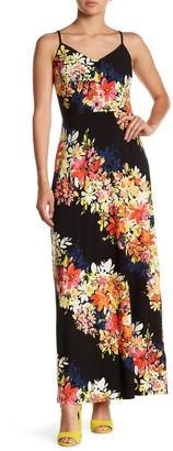 London Times Bloom Stripe Print Maxi Dress