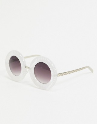 Jeepers Peepers x ASOS round sunglasses in white with chunky lens trim