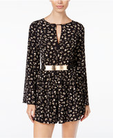 Material Girl Juniors' Printed Belted Romper, Only at Macy's