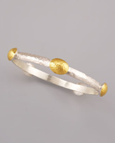 Gurhan Hammered Gold Station Bangle, Bright