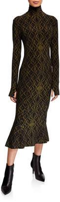 Norma Kamali Long-Sleeve Fishtail Turtleneck Midi Dress
