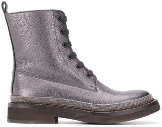 Brunello Cucinelli Grained-Effect Ankle Boots