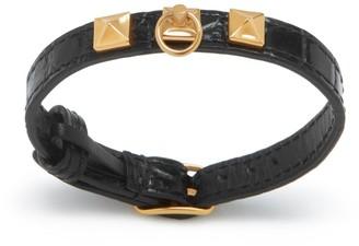 Mulberry Pyramid Thin Bracelet Black and Gold Croc Print