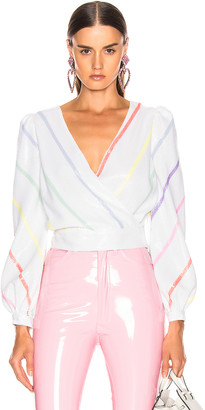 Olivia Rubin Kendall Top in Thin White Stripe | FWRD