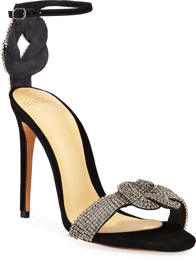 Alexandre Birman Vicky Crystal Suede Ankle-Strap Sandals