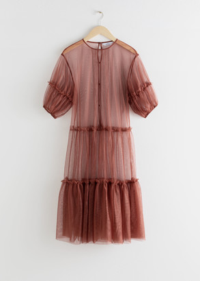 And other stories Sheer Mesh Ruffle Tier Midi Dress