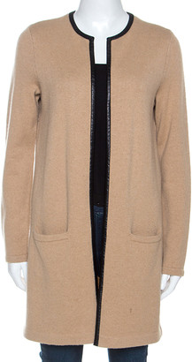 Ralph Lauren Beige Cashmere Knit Leather Trim Cardigan M