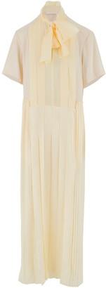 Chloé White Pleated Silk Dress