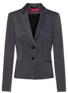 HUGO BOSS Slim Fit Jacket With Woven Micro Pattern - Black