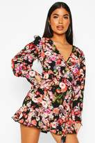 boohoo Petite Floral Fill Hem Belted Wrap Dress