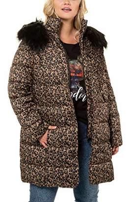 Ulla Popken Women's Plus Size Fur Trim Animal Print Quilted Jacket 723695 90-62+