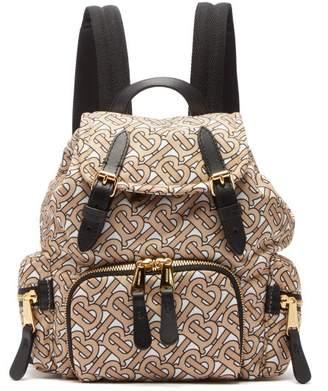 Burberry Tb-print Mini Leather-trimmed Backpack - Womens - Beige Multi