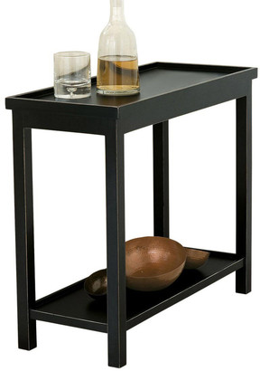 OKA Narrow Jet Side Table, Rubbed Black