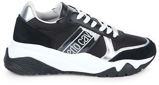 Roberto Cavalli Sport Logo Mixed-Media Sneakers