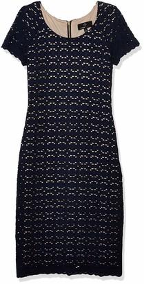 Ronni Nicole Women's Short Sleeve lace midi Sheath Dress Navy/Nude 10