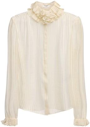 Saint Laurent Gold Fil Coupe Silk Sheer Shirt