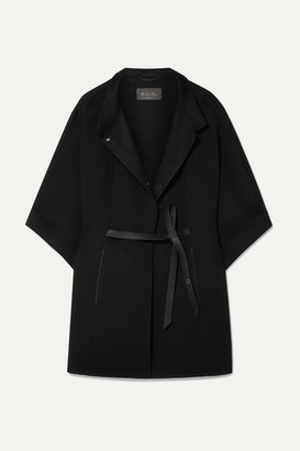 Loro Piana Belted Leather-trimmed Cashmere Cape - Black