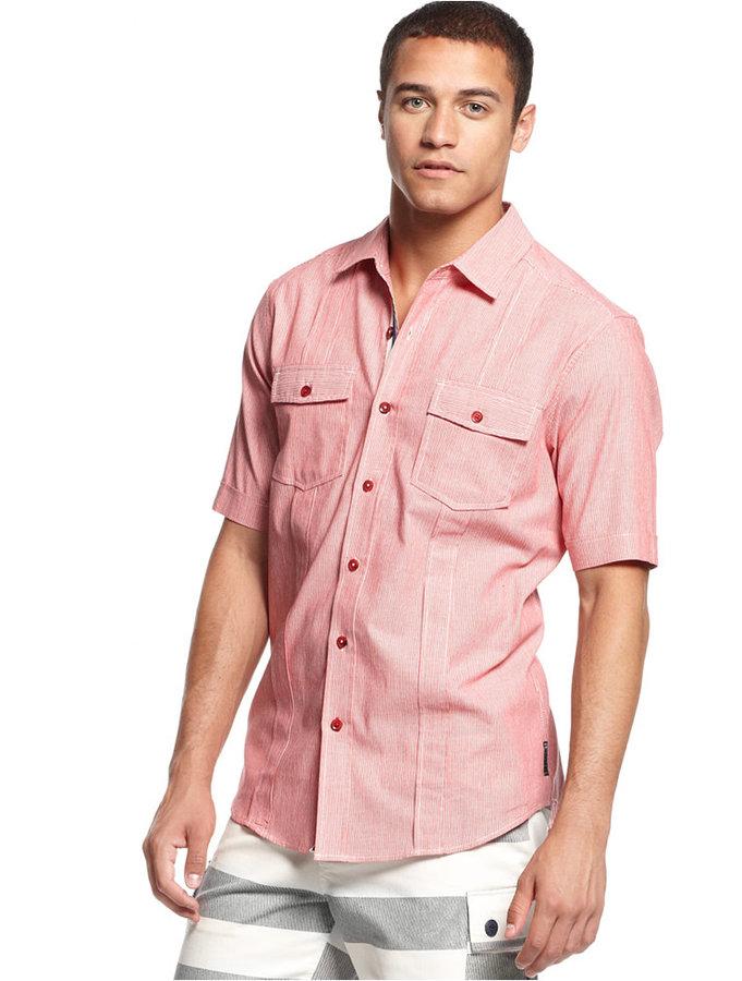 Sean John Big and Tall Corded Striped Shirt