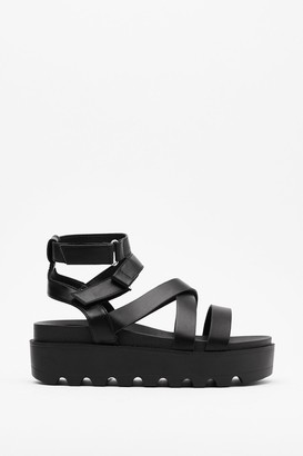 Nasty Gal Womens Back On Your Feet Cleated Strappy Sandals - Black