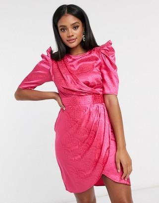 Pretty Darling drape panel midi dress in fuschia