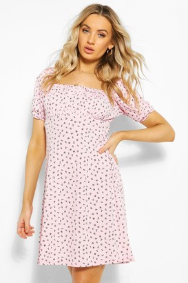 boohoo Ditsy Floral Square Neck Puff Sleeve Skater Dress