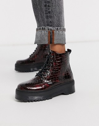 Bronx leather chunky lace up boots in wine
