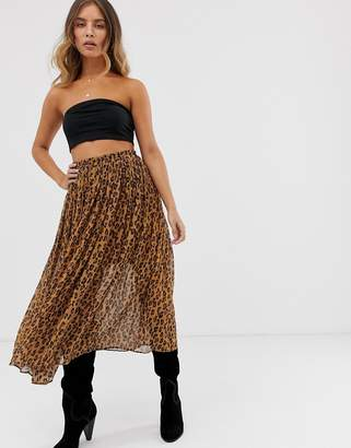 Free People Lydia leopard pleated skirt-Brown