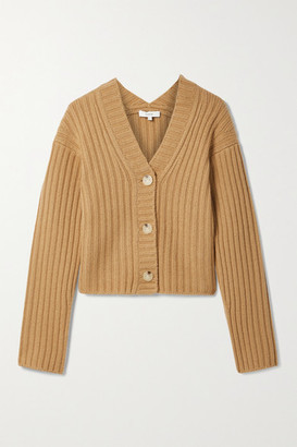 Vince Cropped Ribbed Wool And Cashmere-blend Cardigan - Sand