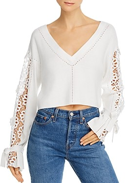 French Connection Leona Cropped Lace Detail Sweater