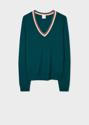 Paul Smith Women's Teal V-Neck Merino Sweater With 'Artist Stripe' Trims