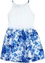 IZ Amy Byer Girls 7-16 IZ Amy Byer Lace Bodice & Floral Skirt Dress