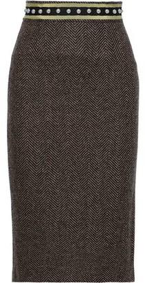 RED Valentino Studded Herringbone Wool Pencil Skirt