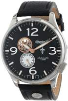 Ingersoll Men's Automatic Watch with Black Dial Analogue Display and Black Leather Strap IN1003BK