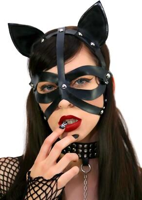 Leg Avenue Women's Wet Look Harness Cat Mask