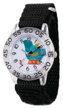 EWatchFactory Girl's Disney Timothy Q. Mouse Dumbo Black Plastic Time Teacher Strap Watch 32mm