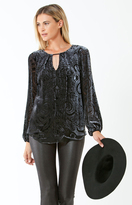 Hale Bob Amabel Silk Velvet Burnout Top In Black