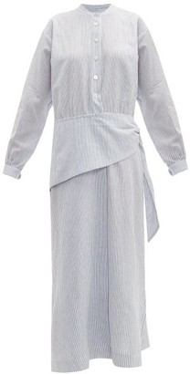 Belize - Anoush Striped Linen-blend Midi Shirtdress - Womens - Blue White
