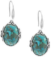 Lord & Taylor Sterling Silver and Faux Turquoise Oval Drop Earrings