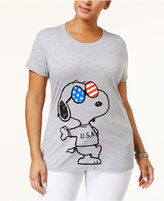 Hybrid Trendy Plus Size Cotton Snoopy USA Graphic T-Shirt