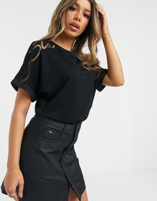 G Star G-Star slouch top with sheer shoulder in black