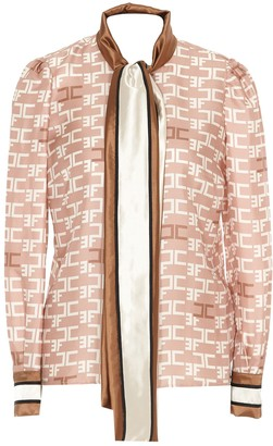 Elisabetta Franchi Logo Print Tie Neck Blouse