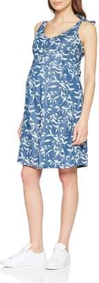 Mama Licious Mamalicious Women's Mljuliana S/l Woven Short Dress A. Chambray Blue AOP: Bright White 12 (Size: Medium)