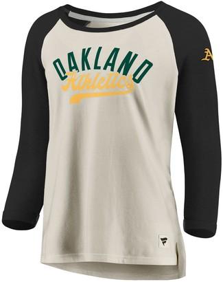 Women's Fanatics Branded Cream/Black Oakland Athletics Heritage Open Raglan Tri-Blend 3/4-Sleeve T-Shirt