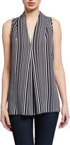 Neiman Marcus V-Neck Top with Center Front Inverted Pleat