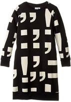 Nununu Punctuation Print Extra Soft A-Line Sweatshirt Dress (Little Kids/Big Kids)